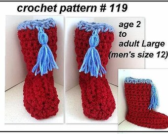 CROCHET PATTERN, slippers, - age 2 to adult men size 12 slippers crochet pattern, unisex style, num 119, instant download
