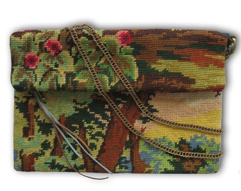Zipper Fold over Cross body with French Antique needlepoint : L'Aristide