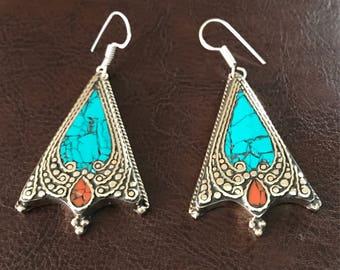 Turquoise earrings, tribal earrings, Boho gypsy, Nepal statement earrings,turquoise jewelry, Tibetan Jewellery, drop earrings, Sterling silv
