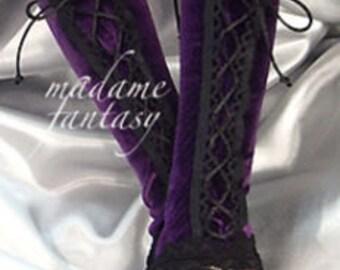 XX lange lila violett Velours Schnürschuh fingerlose Handschuhe schnüren Manschetten / arm Stulpen Goth