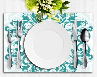 Blue And White Paper Placemat, Vintage Table Runner, Turquoise Floral Centerpiece, Chic Centerpiece, Turquoise Paper Place Mat, Printables