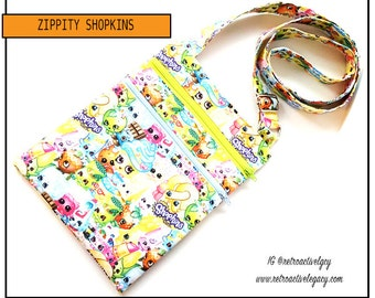 READY TO SHIP Shopkins Double Zipped Crossbody Bag - Zip n Go Bag - Children's First Purse - Secure Zippered Travelers Pouch - Handsfree Bag