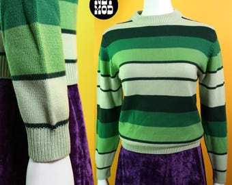 Funky Groovy Vintage 70s Green Stripe Long Sleeve Sweater