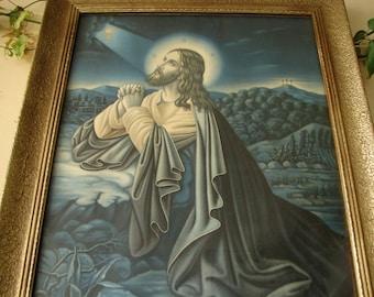 vintage,framed print,Jesus in field,praying to Heaven, gilt wood & gesso frame, 1950's