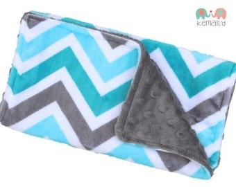 Burp Cloths Turquoise Charcoal Gray Chevron Minky Burp Cloth, Baby Shower Gift, Burp Rag, Feeding, Nursing, Newborn Essentials, New Mom Gift