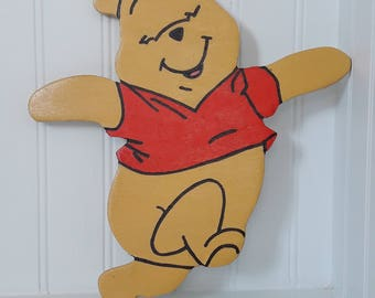 Happy, Skipping Winnie the Pooh Hand Painted wall art