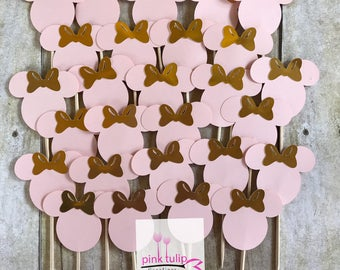 Pink and Gold Minnie Mouse Cupcake Toppers (Set of 12)