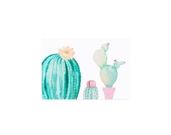 Postcard watercolor Cactus