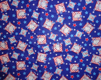 Red/White and Blue Snoopy/Woodstock Cotton Fabric by the Half Yard