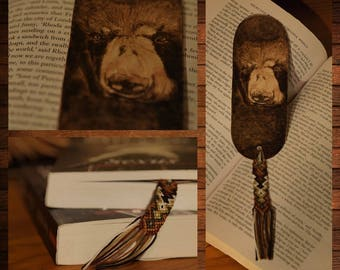 handmade wooden bookmark pyrography bear