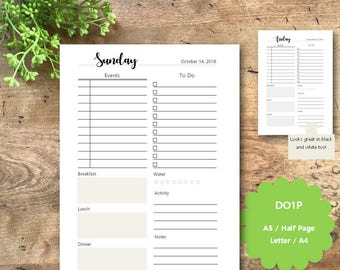 Daily Planner Printable Pages 2018, Dated, A5, Half Page,  Letter, A4, DO1P, Daily Planner Inserts, Fitness Tracker, Filofax, Kikki K