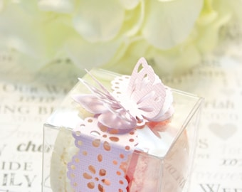 Pink Doily Favor Boxes, Macaron Box - 30 Butterfly Favor Box