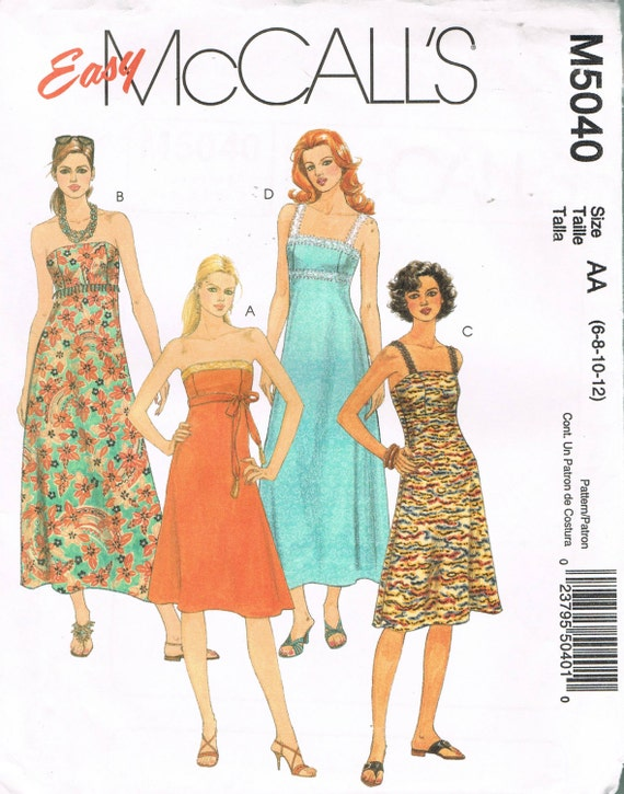 Size 6-12 Misses\' Easy Dress Sewing Pattern - Princess Seam Sundress ...