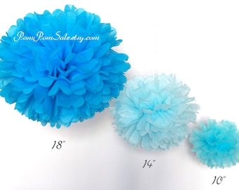 SALE - Samples - 3 Tissue Paper Pom Poms - Choose Your Colors - Fast Shipping - good for Wedding / Baby Shower / Birthday Party