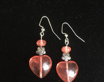 Coral glass heart shape bead earrings