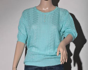 Pullover short sleeve turquoise 60 s