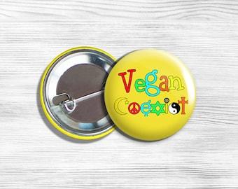 "Vegan Vegetarian ""Vegan Coexist"" Pinback Button Pin 1.75"" Yellow"