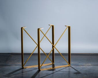"BRASS/GOLD Powder Coat Finish Metal Coffee Table Legs, ""U"" Shaped Industrial Steel Table Legs with ""X"" Steel Rod Cross Pieces"