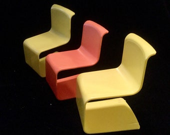 Barbie Doll Chairs, 3 1973 Mattel Plastic Furniture Yellow Orange