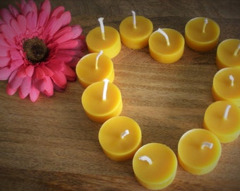 Pure, Handmade, 7 x 100% Beeswax Tealights, re-usable poly-carbonate cups, perfect for Yoga, Summer evenings