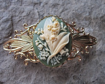Choose Green, Black, Lavender or Burgundy - Lily of the Valley Cameo Gold Filigree Barrette - Hair Accessory - Bride - Hair - Bridal
