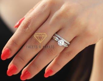 Unique Engagement Ring Wedding Band Bridal Set 14k Solid Rose