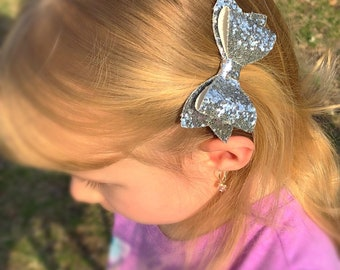 Silver Glitter Faux Leather Bow Hair Clip