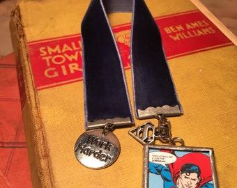 """Superman """"Work Harder"""" Navy Velvet Bookmark"""