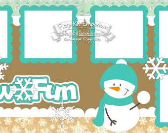 Scrapbook Page Kit Snow Fun Snowman Winter 2 page Scrapbook Layout Kit 021