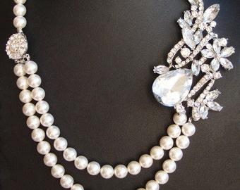 Pearl Bridal Necklace, Crystal Wedding Necklace, Vintage Bridal Jewelry, Swarovski Pearl Necklace, Great Gatsby Art Deco Necklace, GEMMA
