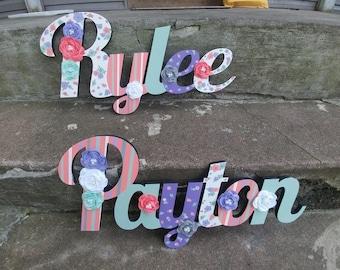 Les enfants personnalisés nom premier signe - pépinière mur lettres nom signe - murale en bois lettres grand Style cursif et nom du milieu