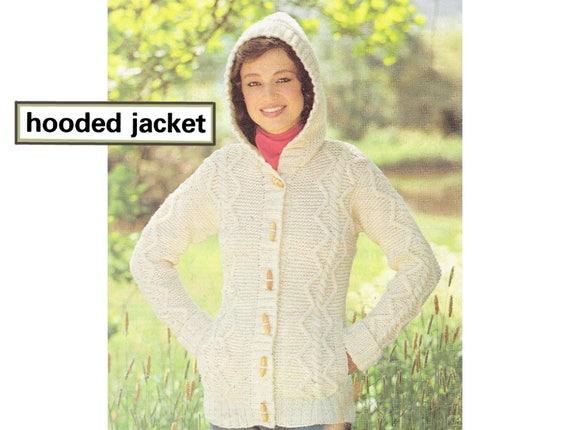 Pdf Of Vintage Aranirish Knitting Pattern Hooded Jacket With