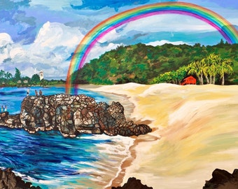 "Waimea Rainbow 36""x48"" original acrylic painting on stretched canvas. Ready to hang."