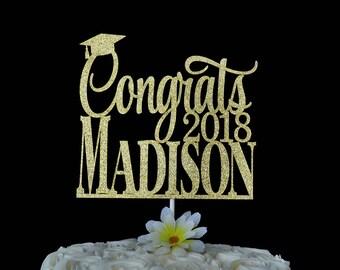 Graduation Glitter Cake Topper - Personalized Congrats Cake Topper- Congratulations - Class of 2018 - 2018 Grad - Graduation Party Decor