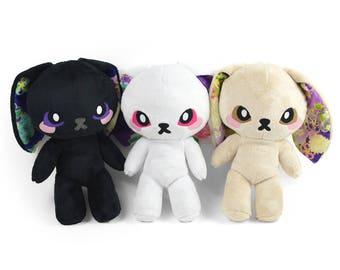 Bunny Doll Plush Stuffed Animal in Faux Fur Minky with Kimono Print Accents