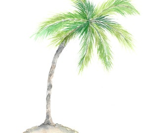 Watercolor palm tree art, tropical art, watercolor tropical painting, palm tree painting, beach art, original watercolor, beach painting,