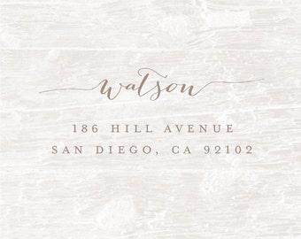 Custom Wood Stamp, Personalized Address Stamp, Calligraphy Stamp, Wedding Stamp, Custom Address Rubber Stamp, Housewarming Gift