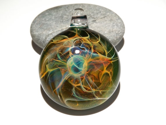 Earthy Energy - Blown Glass Pendant - Flameworked Focal Bead - Free Shipping - Artist Direct - Vibrant and glossy smooth!