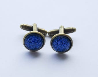 Something Blue Cufflinks, Groom Cufflinks, Sparkly Blue Cufflinks, Birthday Gifts for men, Antiqued brass Cufflinks, Groomsmen Gifts