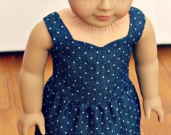 "Polka Dot Denim Sweetheart Dress - 18"" American Girl Doll Clothes"