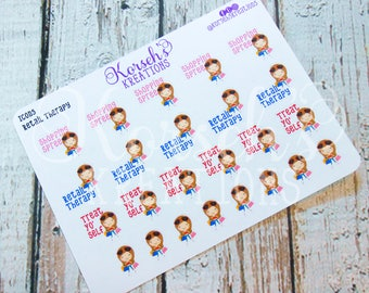Icons Retail Therapy Stickers - Retail Therapy - Treat Yo' Self - Shopping Spree - Shopping Stickers - Life Planners