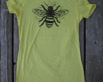 Original handmade woodblock design T-shirt of a Honeybee