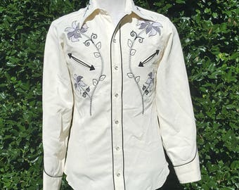 1970's Vintage H Bar C California Ranchwear Embroidered Pearl Snap, Size S