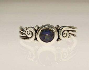 Sterling Silver Mystic Topaz Ring/ Silver Rainbow Topaz Ring/ Victorian Mystic Topaz Ring/ One of a Kind Mystic Topaz Ring/ Scroll Ring