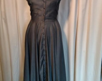 Vintage 1980's Dianne B New York Backless Halter Dress in gray rayon Full ankle length circle skirt . Fifteen self fabric covered buttons.
