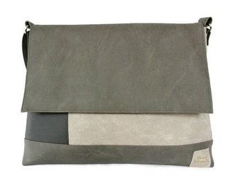 Shoulder bag with zipper, work bag for women, vegan bag, crossbody bag, bag natural colors, colorblock bag, Mother's Day, Secretary's Day