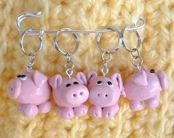 Set of 4 Pigs knitting or crochet stitch markers - Polymer Clay