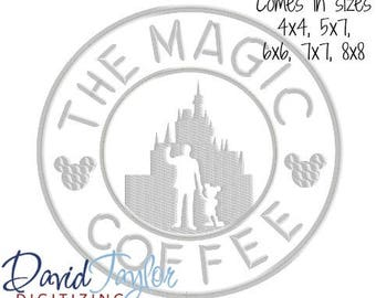 Coffee Walt and Mickey Embroidery Design 4x4, 5x7, 6x6, 7x7, 8x8 in 9 formats-Applique Instant Download-David Taylor Digitizing
