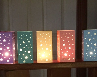 Wedding table decoration candle holder lantern luminare party star design SET OF 5-