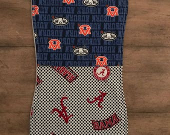 Baby burp cloth, house divided, Alabama, Auburn